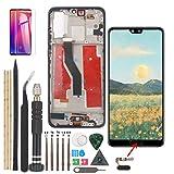 YWL para Huawei P20 Pro CLT-L09 LCD Display + Herramientas (con Cable de Llave de Huellas Dactilares e Encienda el Cable del Botón de Volumen)(Plata+Marco)