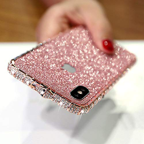LUVI for iPhone Xs Max Case Glitter Bumper Frame Case Luxury Bling Diamond Crystal Rhinestone Sticker Protective Electroplate Aluminum Metal Edge Bumper Case for iPhone Xs Max Rose Gold