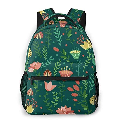 GKGYGZL Zaino per laptop da viaggio,coccinelle floreali su sfondo blu,grande borsa da lavoro antifurto per computer resistente all'acqua,borsa da viaggio per scuola universitaria sottile e resistente