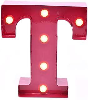Home By Jackie GL04 Red Hanging 3V Vintage Metal Rustic Led Letter Light (T)