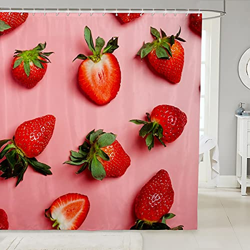 Feelyou Duschvorhang für Mädchen, Erdbeermotiv, tropische Früchte, rosa, wasserdicht, für Kinder, Jungen, Frauen, süße Erdbeere, Duschvorhang mit Haken, roter Vorhang, 183 x 183 cm