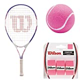 Wilson Serena Williams 25 Inch Pre-Strung Junior Tennis Racquet Starter Set or Kit Bundled with (3) Pink Tennis Balls and 3-Pack of Pink Overgrips (Perfect for Kids Ages 9-10)