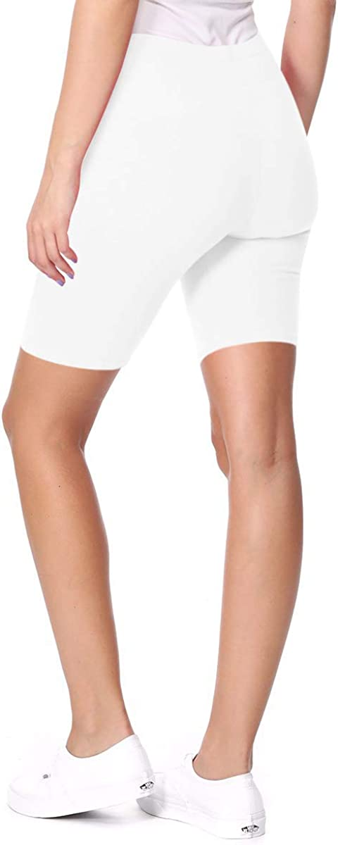 FashionJOA Women's Casual Cotton Spand Comfy Elastic Band Waist Active Biker Shorts Pants S-3XL