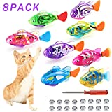 Swimming Robot Fish Cat Toy, Interactive Fish Cat Toys For Indoor Cats Play, Cat Enrichment Electronic Cat Stuff Kitty Exercise Toys Fish with LED Light to Stimulate Your Cat's Hunter Instincts (8pcs)