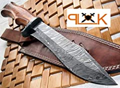 Handmade Stunning Damascus Steel Bowie Knife Exotic Marandi Wood Handle and Brass Spacers. Sturdy Knife with Perfect Grip.