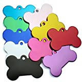 20 Pcs Pet ID Tag Bone Shape Double Sided Dog Cat Pet Name Phone Number ID Tag Charm Personalized, 38MM