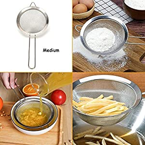 Set of 3 Stainless Steel Fine Mesh Strainers with Handle,Kitchen Strainer Colanders Sifter for Juice Egg Tea Coffee… |