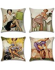 Artscope Decoratieve kussenhoes, set van 4, 45 x 45 cm, katoen, linnen, kussenovertrekken, sierkussenovertrekken, kussenovertrekken, voor bank, auto, slaapkamer, thuis, decoratie