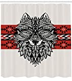 ABAKUHAUS Wolf Duschvorhang, Tattoo Stil Tiergesicht, mit 12 Ringe Set Wasserdicht Stielvoll Modern Farbfest und Schimmel Resistent, 175x200 cm, Schwarz Creme Rot