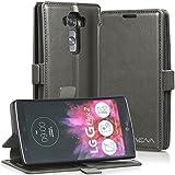VENA vFolio Vintage Genuine Leather Wallet Flip St&Case mit Karte Taschen und Sleep/Wake Function für LG G Flex 2 - Grau/Schwarz