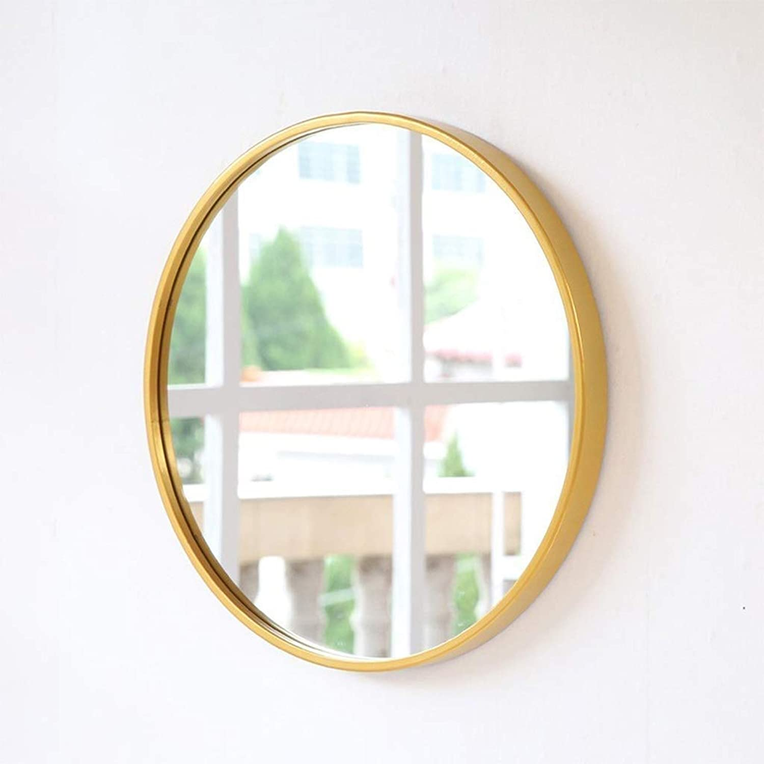 SMC Mirror Simple Solid color Wall Hanging Entrance Dressing Mirror Wall Hanging Vanity Mirror (color   gold, Size   40cm)