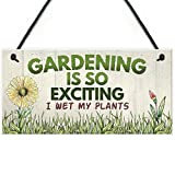 RED OCEAN Gardening So Exciting Funny Novelty Hanging Sign Plaque Friendship Gift Gardening Sign