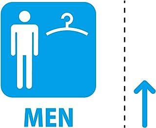 男性 専用 試着 フィッティング 更衣室 案内 シール ステッカー カッティングステッカー (MEN テキスト・矢印付き) 光沢タイプ・防水 耐水・屋外耐候3~4年【クリックポストにて発送】 (青, 100)