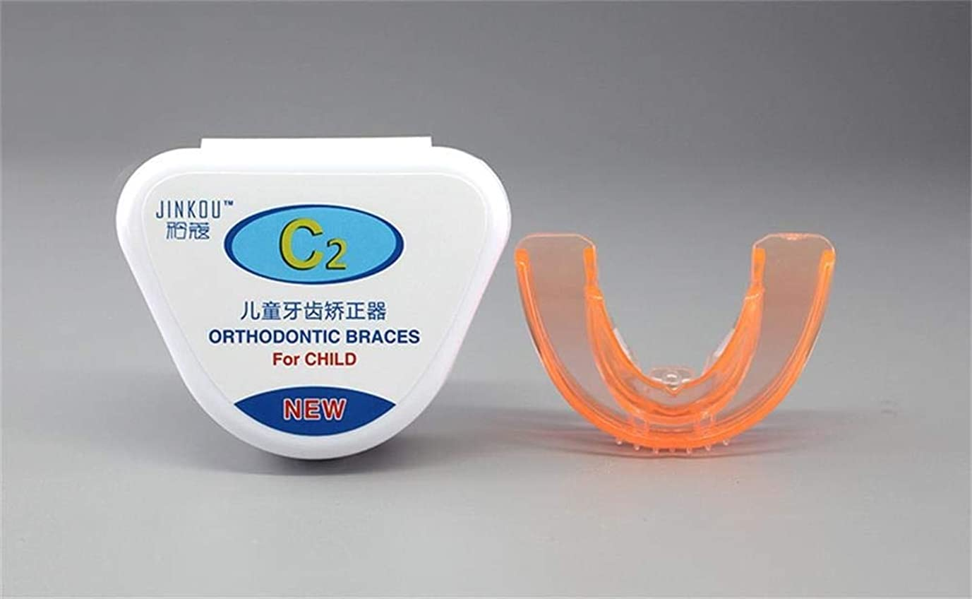 お手伝いさんみがきます水陸両用子供のための歯列矯正の見えないブレース、歯の形削り、薄型カスタムフィットプロフェッショナルナイトマウスガードマウスピース睡眠停止歯研削、2つのサッチ (Color : Orange, Stage : Second stage)