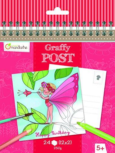 Avenue Mandarine GY012O - Un carnet à spirale Graffy Post 24 cartes imprimées à colorier 15x14,5 cm 250g (12 designs x2), Fées et fleurs