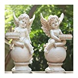 Escultura de escritorio Angel Cupido Escultura Vela Titular de Vela Impermeable Jardín Estatua Estatua Estatuilla Resina Figuras Jardín Paisaje Césped Decoración Artesanía Regalos