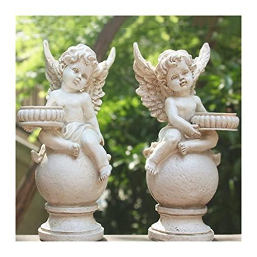 WQQLQX Statue Engel Cupid skulptur Kerzenhalter wasserdichte Garten Statue Set Harzfiguren Gartenlandschaft Rasen Dekoration Handwerk Geschenke Skulpturen
