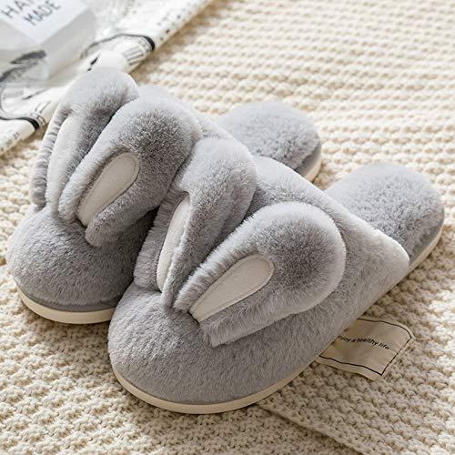 WALNUTA Zapatillas De Moda Para Mujer, Zapatos De Piel Cálidos De Invierno Para Mujer, Hombre, Pareja, Bonitas Orejas De Conejo, Suela Suave Para El Hogar, Zapatillas De Felpa Para Interior Para Mujer