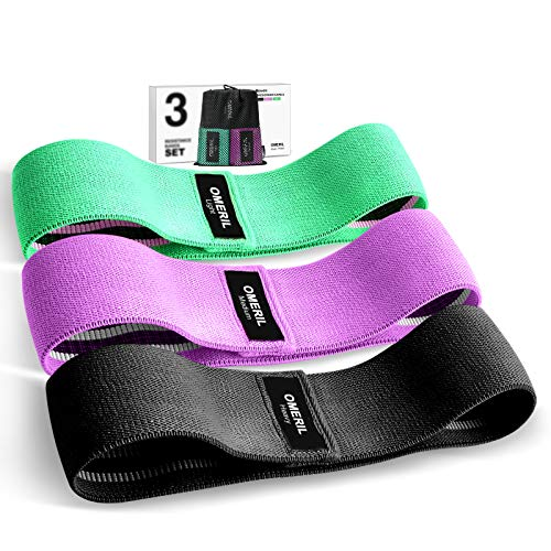 OMERIL Resistance Bands Set 3 Packs Fabric Workout Bands with 3 Resistance Levels NonSlip Exercise Bands Elastic Resistance Loops Bands with Carrying Bag for Legs Butt Hips and Glutes