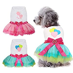 HYLYUN Small Dog Dress 2 Packs – Cute Tutu Princess Dress Heart & Lip Printed Puppy Dresses for Girl Small Dogs