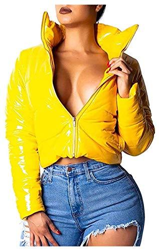 ZHMIAO Mujeres mojadas miradas PU Abrigos de Cuero, Mirada mojada para Mujer Abrigo de Soplo para Damas de Invierno Brillante PU Abajo de la Chaqueta Acolchada con el desga Yellow-S