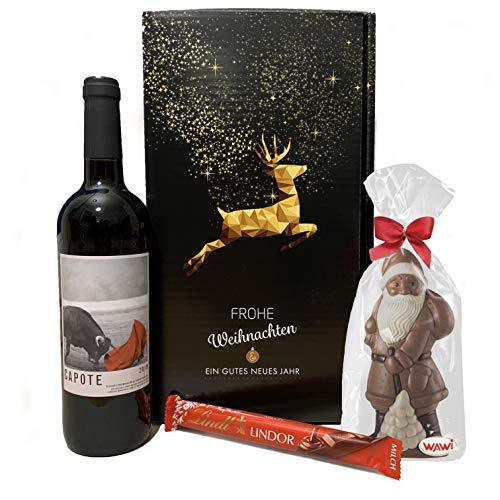 Präsentkorb sinnliche Weihnachten - mit spanischem Wein und Schokolade in einer schönen Geschenkbox | Gold prämierter Spanischer Rotwein Capote aus Alicante | Zartschmelzende Lindt Schokolade |