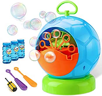 Automatic Bubble Machine with 3 Bottles of Solution and 2 Hand Wands