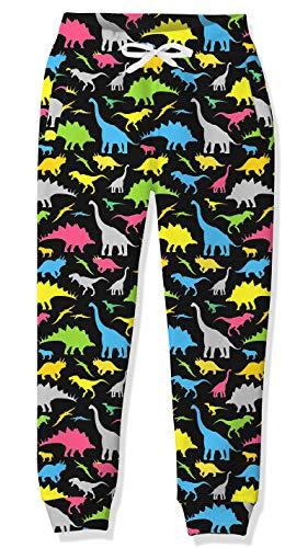 Big Boys Black Dinosaur Pants für Teenager Größe 10-12 Bequeme elastische Taille Activewear Jugend Jogging Jogginghose mit Kordelzug 3D-Print Cool Athletic Baggy Trosuers Outfits