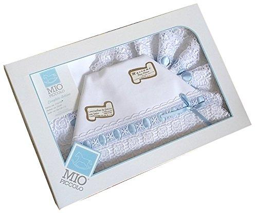 composè lenzuola culla carrozzino in cotone con macramè fondo bianco (celeste)