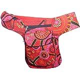 KUNST UND MAGIE Goa Schulter/Bauchtasche Gürteltasche Bauchgurt Hippie Psy, Farbe:Rot