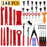 Manfiter 38Pcs Trim Removal Tool, Pry Kit Car Panel Tool Radio Removal Tool Kit, Auto Clip Pliers Fastener Remover Pry Tool Kit, Car Upholstery Repair Kit, Prying Tool Kit with Storage Bag (Red)