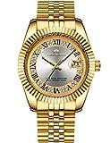 MEGALITH Herren Uhr Männer Gold Edelstahl Wasserdicht Designer Armbanduhren Mann Leuchtende Analog...