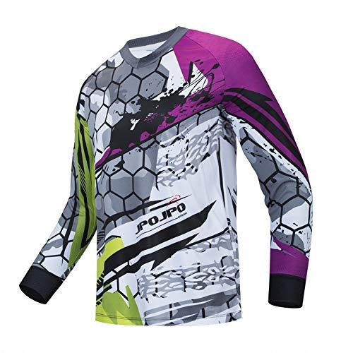 weimostar Ciclismo Jersey Uomo Mountain Bike Motocross Jersey manica lunga MTB T-shirt Downhill Top Sport corsa camicetta viola XL