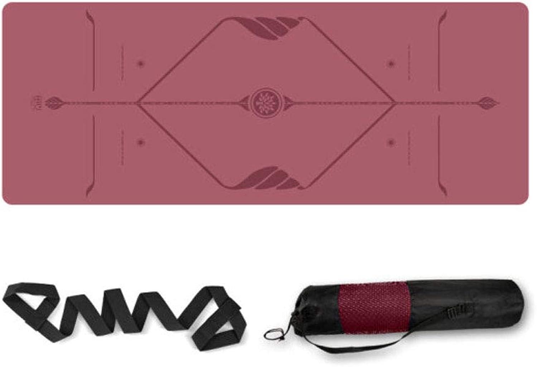 Guyuexuan Yogamatte, Naturkautschuk PU Feuchtigkeitsabsorbierende Rutschfeste Fitnessmatte mnnlich 183  68CM, die 5mm Verdickungssportmatte (Geschenkbügel + Netzbeutel) erweitert, Purpurrot