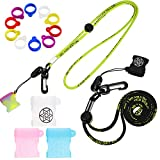 19 Pieces Anti-Lost Lanyard Set, Necklace Lanyards Pendant Holder, 12 Pieces Anti-Lost Silicone Ring, 5 Pieces Adjustable Lanyard Accessories Silicone Fixing Rings, Pen Protective Ring (Black, Yellow)