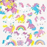 Baker Ross Etiquetas engomadas de espuma unicornio arco iris (paquete de 12) para...