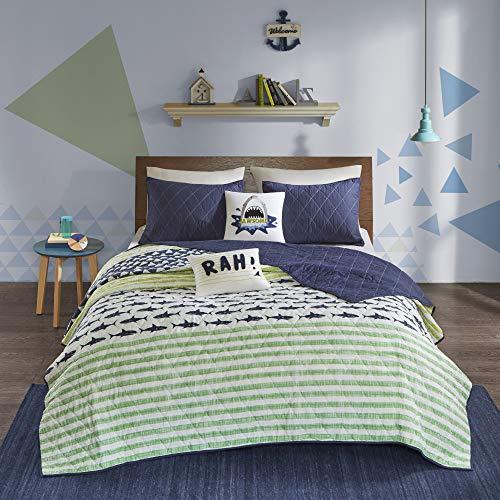 Urban Habitat Kids Finn Twin/Twin Xl Bedding Sets Boys Quilt Set - Green, Navy , Shark Stripe – 4 Piece Kids Quilt For Boys – 100% Cotton Quilt Sets Coverlet