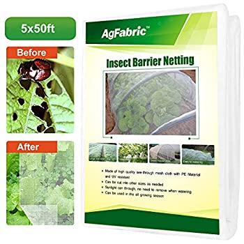 Agfabric 5 x50  Bug Net Insect Bird Netting Garden Netting Protect Plants Fruits Flowers Against Bugs Birds & Squirrels White