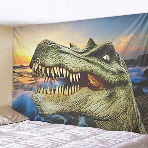 N/A Impresión 3D de tapices Tapiz con Estampado de Cabeza de Dinosaurio escénico, tapices de Pared de Ballena Arowana, Colcha, Manta de Esterilla de Yoga