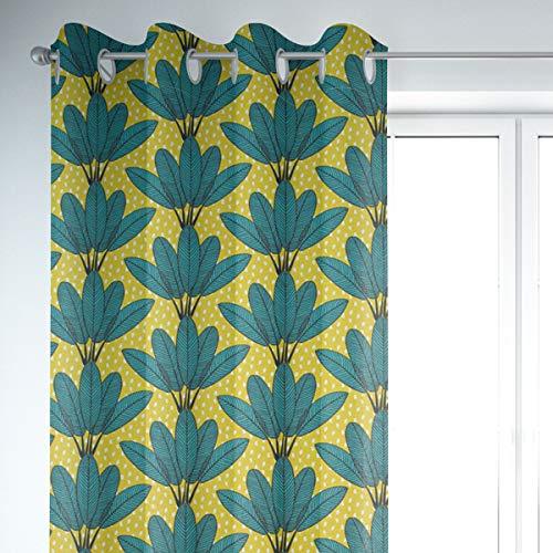 Mooi leven. Gordijn palmbladeren stippen mosterdgeel groen wit zwart 245cm of gewenste lengte
