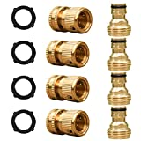 SANCEON Garden Hose Quick Connector, 3/4 inch GHT Solid Brass Water Hose Fitting, No-Leak Easy Connect Adapter Set, Male and Female (4 Sets)