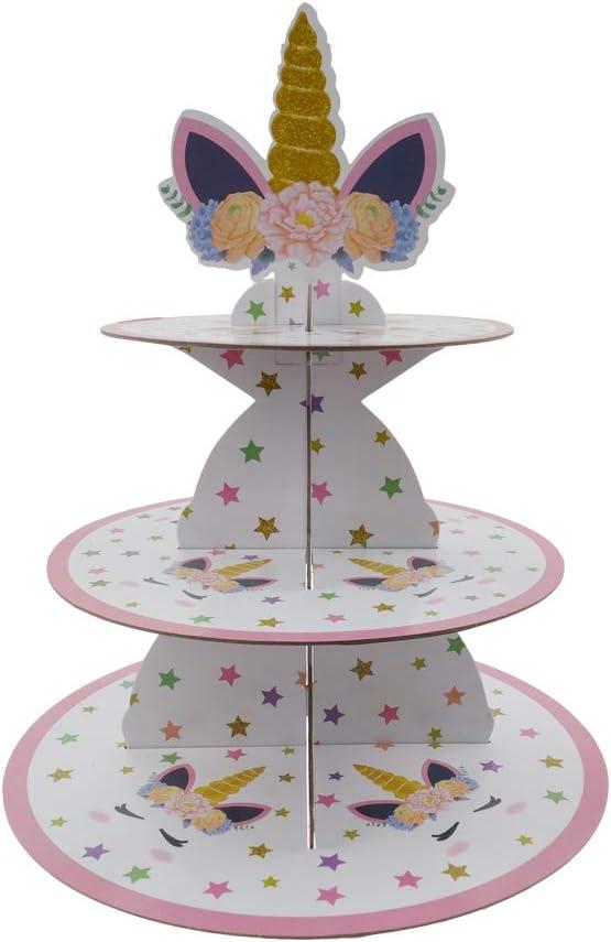 Max 42% OFF LIDAGO Unicorn Party 3-Tier Max 88% OFF Cardboard Stand Dessert Cupcake Towe