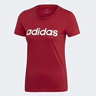 adidas Women's Essentials Linear Slim T-Shirt, Red (Active Maroon/white), X-Small, 4-6