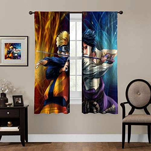 LCGGDB Anime Blackout Curtains,Naruto and Sasuke,Living Room Bedroom Window Drapes Panels Set of 1 with Rod Pocket,Soundproof Shade Curtains,for Boys and Girls Room Décor, 63x63 inches
