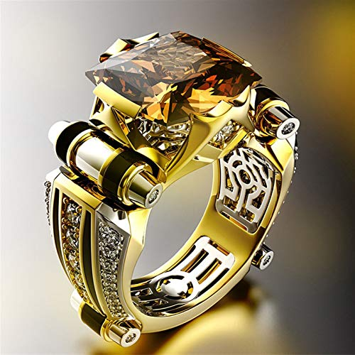 JDG Accesorios de joyería Anillo de Diamantes dominarios de Hombres creativos (Color : Champagne, Size : Number 8)