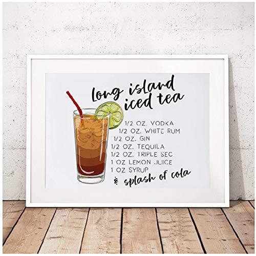 Lange Eiland ijs Thee Canvas Art Print en Poster Cocktail Drink Recept Art Schilderij ijs Thee Beeld Bar Muurdecoratie -50cmx70cm (geen Frame)
