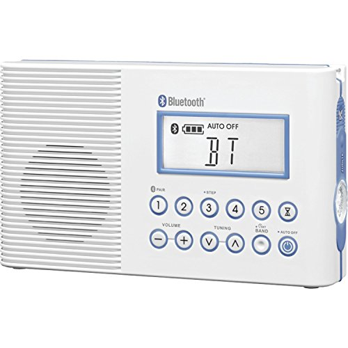 Sangean Portable Bluetooth AM/FM Weather Band Emergency Waterproof Shower Clock Radio With Large easy to read LCD Display