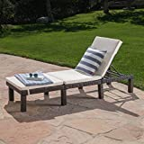 Christopher Knight Home Jamaica Outdoor Wicker Chaise Lounge with Water Resistant Cushion, Multibrown / Cream