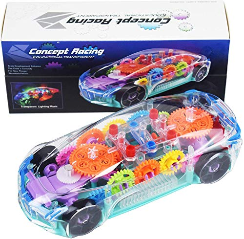 Kids Toy Car with LED Music and Electric Transparent Mechanical Gear - Early Educational Learning Race Cars Toys for 2 3 4 Year Old Boys Girls