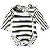 Pinokio - Happy Day- Baby Wickelbody 100% Baumwolle, Schwarz Weiß gestreift - Body - Langarmbody mit Druckknöpfen Mädchen Jungen Unisex Streifen (68)